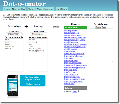 choose your domain with dotomator