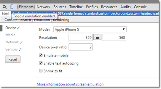 chrome emulation mode